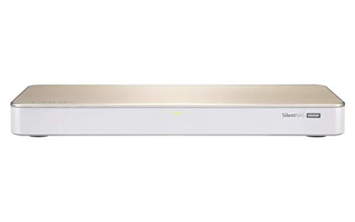 QNAP HS-453DX-8G lüfterloses Multimedia NAS-System, hybride Speicherstruktur, 10 GbE Konnektivität, HDMI 2.0 4k Ausganff, weiß