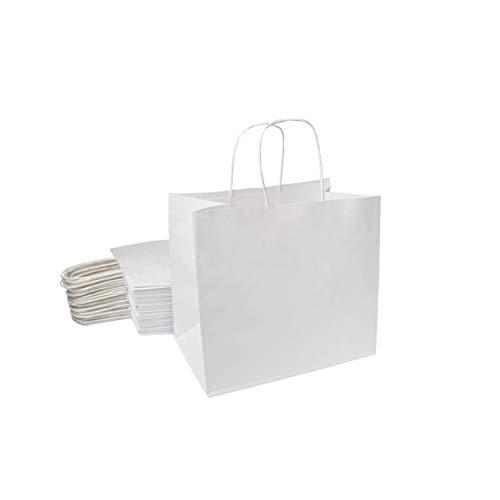 Extiff Lot de Sacs Cabas Papier Cellulose Blanc avec poignées 26x17x24cm Sac de Course Emballage Cadeau (25)