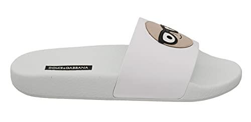 Dolce & Gabbana White Leather #dgfamily Slides Shoes Sandals (numeric_4_point_5)