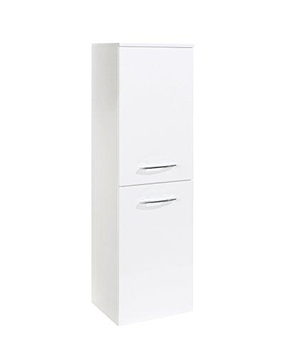 lifestyle4living Badezimmerschrank in Weiß, Hochglanz, schmal | Halbhoher Midischrank mit 2 Türen und 2 Einlegeböden