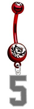 Number 5 Silver Plated Charm on PREMIUM Red Titanium Anodized Belly Navel Ring