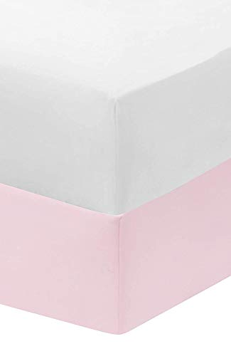 Dudu N Girlie Travel Cot Cotton Jersey Fitted Sheets, 65 x 95 cm (Pack of 2) (White & Pink)