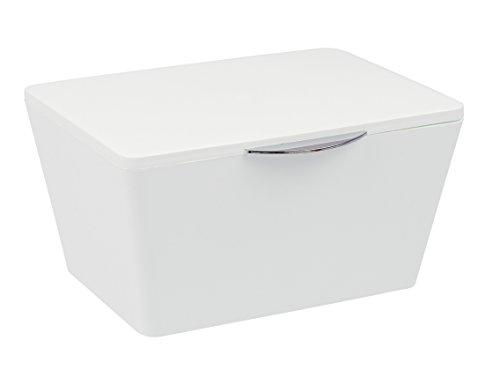 Wenko Aufbewahrungsbox mit Deckel Brasil, Aufbewahrungskorb für das Badezimmer, Badkorb aus bruchsicherem Kunststoff, 19 x 10 x 15,5 cm, weiß