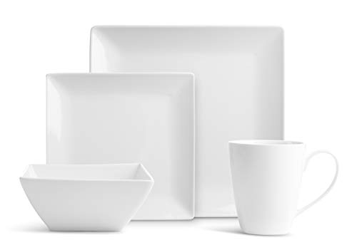 32 Pc. Square Pure Porcelain Dishes Set - White Dinner Plates, Bowls, Coffee Cups