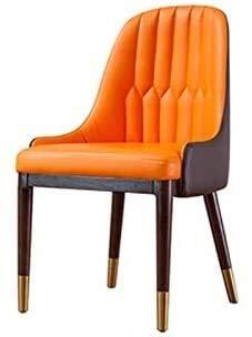 G.S.N. GSN Massivholz-Leder-Stuhl, Ergonomischer Stuhl for Haus/Hotel/Gastronomie Table/Sales Office/Verhandlungs Hocker orange 49x48.5x89.5CM Sessel (Color : Orange, Size : 49x49.5x89.5CM)