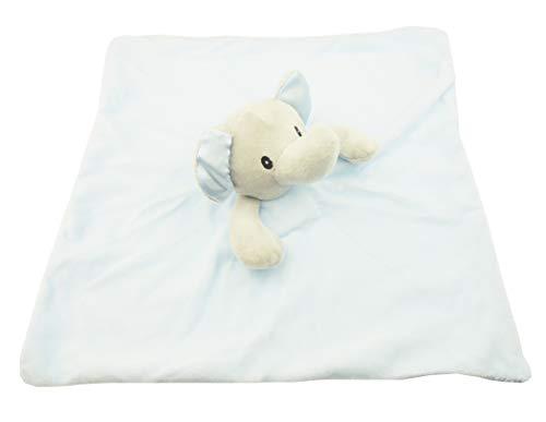 Baby Meisjes Super Zacht Vierkant Comforter Knuffelig Pluche Satijn Safari Dier Dou Dou Deken Olifant 34 cm by 34 cm Blauw
