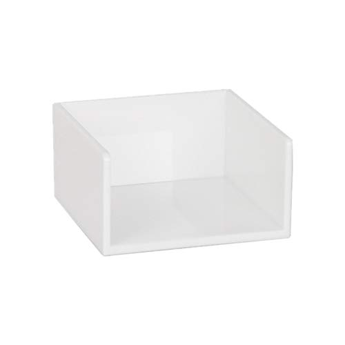 Simple Memo Holder White Self Stick Notes Cube Dispenser Case PS Notepad Cards Holder Case 3x3 Inch for Office Home School Desk Organizers (White)