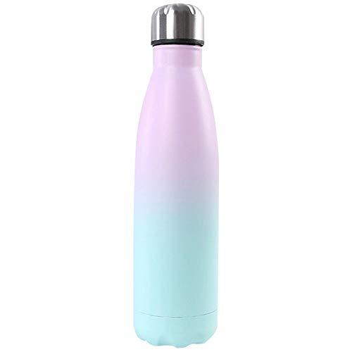 Heritan Botella de agua de gradiente BPA libre aislado taza de acero botella tipo D