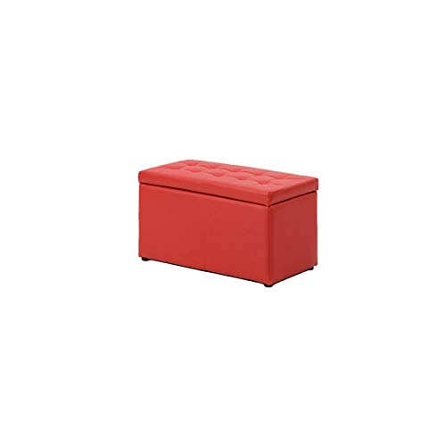 DISS Taburete de Almacenamiento, Troncos de Almacenamiento, Sofá Saco de Taburete, Zapato de Cuero Cambio de Taburete, para Dormitorio, Pasillo, Sala de Estar, Rojo (Size : 60 * 30 * 34cm)