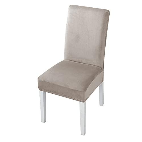 Paquete de 4 Fundas Cortas para sillas de Comedor, Ajustables, extraíbles, Lavables para Cocina, hogar, Restaurante, Hotel, Ceremonia, Banquete, Boda, Fiesta (Caqui)