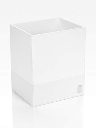 JOOP! Papierkorb bathline Weiß, 25x30x21 cm, Leder Optik mit silberner JOOP! Logo Plakette vorne