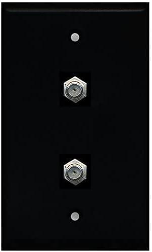RiteAV - Black 2 Port Coax Detroit Mall Plate F-Type Wall TV- Cable Ranking TOP7
