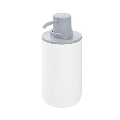 Price comparison product image iDesign Liquid Soap Dispenser,  Refillable Hand Soap Bottle with 355 ml Volume,  Round Plastic Soap Pump for Bathroom and Kitchen,  White / Grey