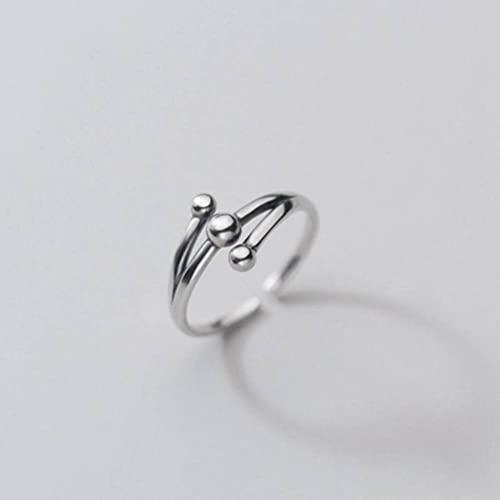 Good dress S925 plata tailandesa estilo retro de tres capas de luz anillo de cuentas, anillo abierto envejecido s925 anillo de plata, apertura ajustable
