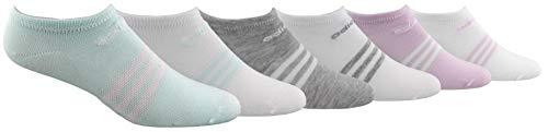 adidas Women's Superlite No Show Socks (6-Pair), Ice Mint/White White/Ice Mint Cool Light Heather/W, Medium, (Shoe Size 5-10)