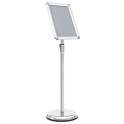 LONGMHKO Vitrinskåp A4 affischstativ silver aluminiumlegering totalmått: 25 x (63–108) cm (diameter x H)