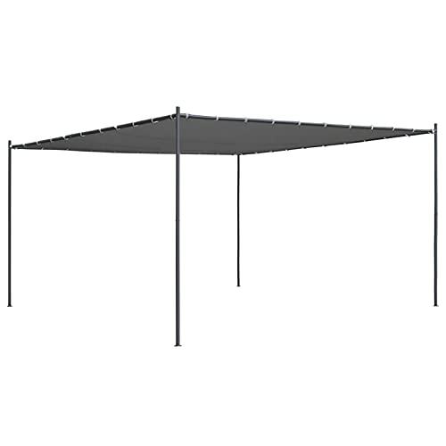 Festnight Standmarkise Gartenpavillon mit Schrägdach Sonnensegel Anstellpavillon Terrassendach Freistehend Uberdachung Pavillon Metall 400x400x264 cm Anthrazit 180 g/m²