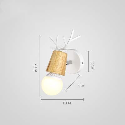 Nordic nachtkastje persoonlijkheid wandlamp kinderkamer oprit trap hertenhoofd van massief hout eenvoudige wandlamp