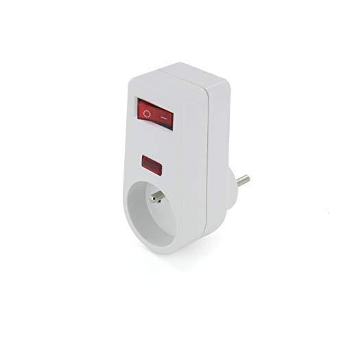 Chacon 49018 - Enchufe con interruptor (16 A), color blanco