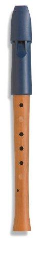 Mollenhauer 1095 Prima Penta Sopran-Blockflöte Pentatonische Griffweise - Kunststoff-Holz-Kombination: Kopf Kunststoff Blau, Unterteil Birnenholz, Natur - Zapfenverbindung mit 2 Gummiringen - Kindergartenflöte