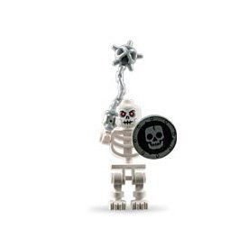 Skeleton (Loose) Lego Castle Mini Figure with Flail and Shield by LEGO