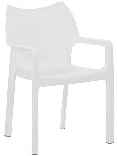CLP Kunststoff-Gartenstuhl Diva mit Armlehnen I XXL- Kunststoffstuhl mit Einer Belastbarkeit von 160 kg, Farbe:weiß