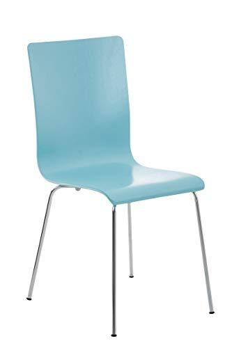 CLP Wartezimmerstuhl Pepe mit ergonomisch geformten Holzsitz und Metallgestell I Konferenzstuhl I erhältlich, Farbe:hellblau