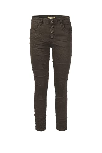 Jewelly Jeans Damen im Crash Look 5154 (Braun, XL/42)