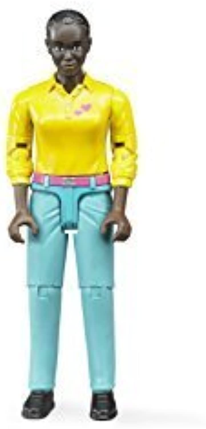 Bruder Woman Dark Skin Toy Figure with Turquoise Jeans by Bruder