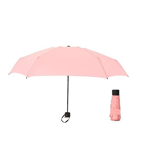 ミニトラベル傘 ミニポケットアンブレラ、便利な女の子旅行パラプリアー子供、180gレインレディース防水男性サンパラソル 折りたたみ傘 (Color : Pink)
