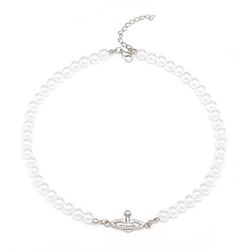 Branets - Collana con perle bianche e perline di cristallo con strass Saturn Planet per donne e ragazze