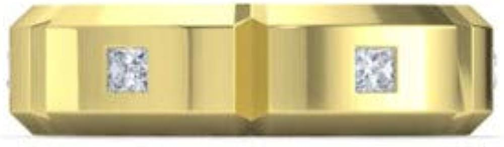 Addamas - anello a fascia da uomo in oro massiccio da 0,36 ct con vero diamante e oro giallo P-GRN-0258-YG-14K-U
