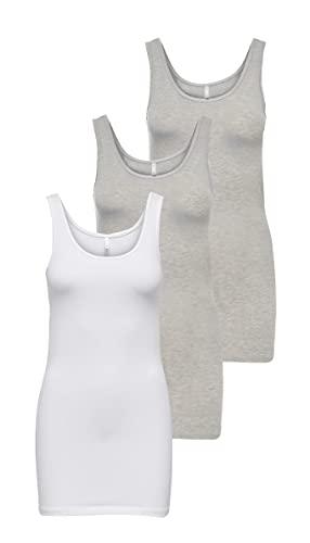 ONLY Onllive Love Noos - Camiseta de tirantes para mujer, 2x Light Grey 1x White, S