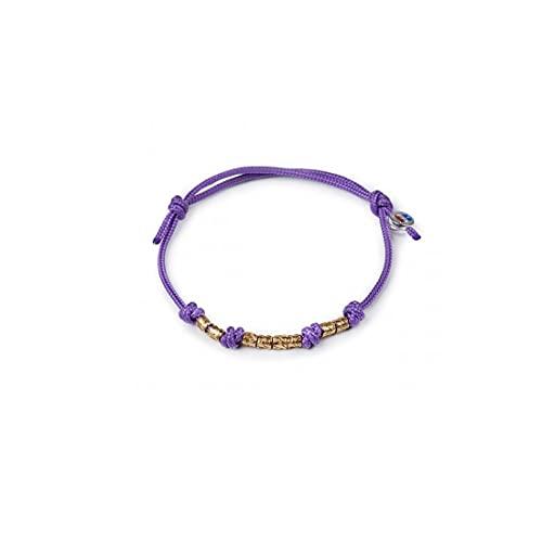 Isola Bella - Pulsera de cordón morado con anillos de plata 20000683