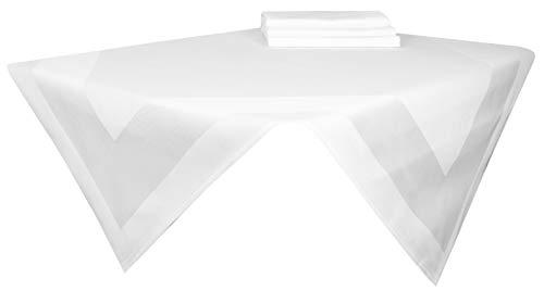 ZOLLNER 4er-Set Damast Mitteldecke, Baumwolle, 80x80 cm, Atlaskante, weiß