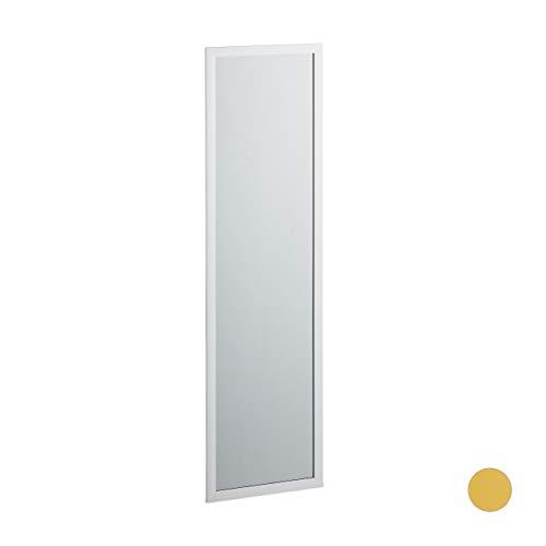 Relaxdays Espejo de Pared, Marco, Dormitorio, Pasillo, Vestidor, Grande, 124 x 34 cm, 1 Ud, Plateado