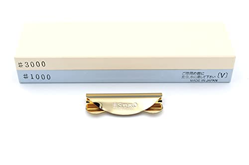 Pierre à Aiguiser Japonaise et Guide d'Affutage Suehiro - Grain 1000 3000 - Kit Affuteur Couteau de Cuisine