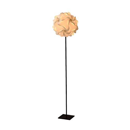 Lámpara de pie creativa Lámpara de pie con pantalla moderna de la bola de la flor blanca, Plata y Negro Polo lámpara de pie de Habitación Sala Oficina LED de lectura Luz de piso (Color : Black)