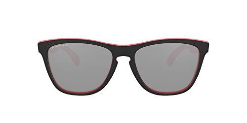 Oakley Men's OO9013 Frogskins Square Sunglasses, Bright Red Black/Prizm Black, 55 mm