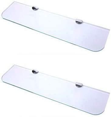 Juego de 2 estantes largos de cristal con esquinas curvadas y acabado cromado para baño, dormitorio, cocina, oficina (600 mm x 150 mm) aprox. 24 pulgadas x 6 pulgadas