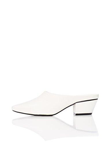 find. Mules Damen aus Kunstleder mit Blockabsatz , Weiß (White), 39 EU