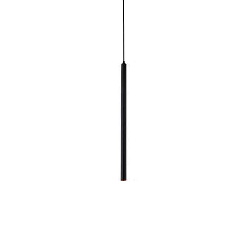 Naiyn LED Negro Simplicidad Lámpara Colgante Altura Ajustable Tubo Largo Colgante Luz de Techo Barra de Barra Foco cilíndrico para Cocina Isla Dormitorio Restaurante Araña