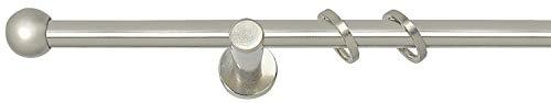 Gardinenstange Stilgarnitur Komplettgarnitur | Metall | Edelstahloptik | 240 cm | Ø 16 mm