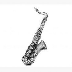 Zinn Saxophon Anstecker Abzeichen oder Brosche Geschenk für Schal, Krawatte, Hut, Wappen Oder Taschen