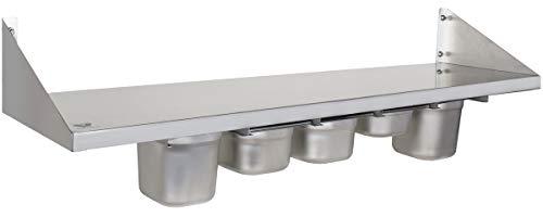 Beeketal 'BGR-120' Gastro Küchen Wandregal 120 cm aus Edelstahl mit 5 GN Behälter Schubeinsätzen, Regal Tragkraft ca. 35 kg, Küchenregal inkl. 5 x (GN) 1/6 Behälter und Wandmontagematerial