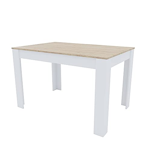 Tavolo Da Pranzo Fisso Rettangolare In Legno Huaraz Salotto Salone Sala Pranzo Design Moderno Elegante Per 4 Persone 120 x 74 x 80 cm Colore Bianco E Rovere