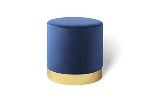 LIFA LIVING 30 cm Belle ronde poef voor binnen, cilindervormige fluweel kruk met gouden detail, in blauw van fluweel & metaal, 30 x Ø 38 cm