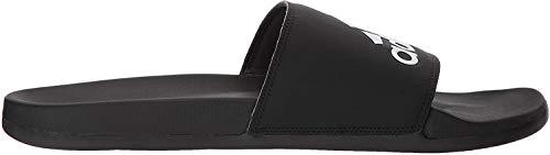 adidas Men's Adilette Comfort Slide Sandal, Black/Black/White, 10