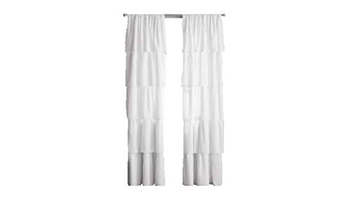 Your Zone Ruffle Girls Bedroom Curtain 42x84 White