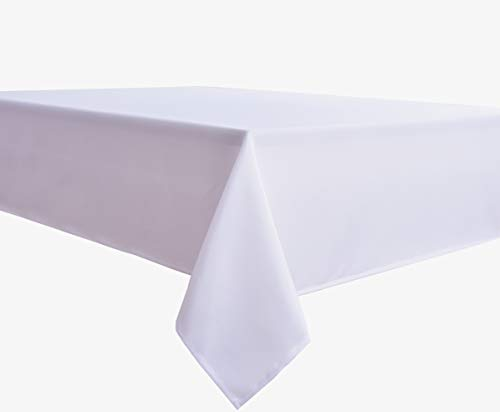 Biscaynebay Fabric Tablecloths, Water Resistant Spill Proof Tablecloths for Dining, Kitchen, Wedding and Parties, White 54 by 54 Inches Square